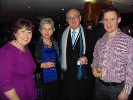 Pictured are two guests with Jo Payne (far left), representative for The Air Ambulance Service and SBF's Gary Foster (far right)